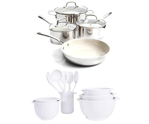 Gibson Gleaming 7-Piece Cookware Set, Silver bundle with Mainstays 1-Piece Melamine Mixing Bowl and Utensil Set, White