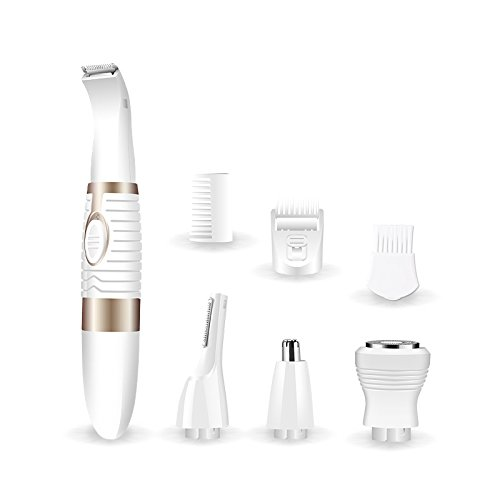 Shaver for Women,Nose Hair Trimmer,Whisesport Electric Cordless Personal Waterproof Eyebrow and Sideburn Razor Remover Shavers Kit for Ladys Men Bikini Area Face Ear Body Legs Armpit (White)