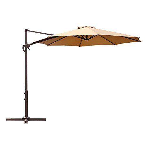 Le Papillon 10 ft Cantilever Umbrella Outdoor Offset Patio Umbrella Easy Open Lift 360 Degree Rotation, Beige