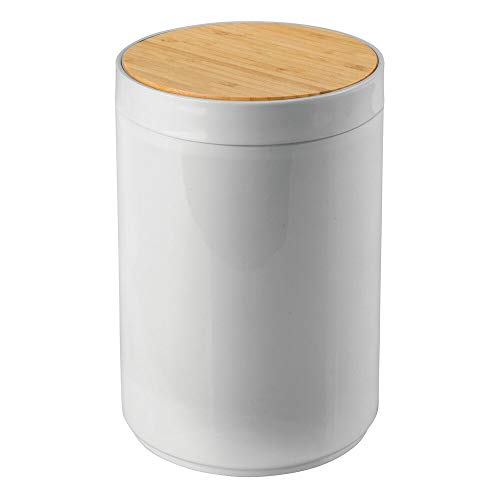 mDesign Small Round Plastic Trash Can Wastebasket, Garbage Container Bin with Bamboo Swing Top Lid - for Bathrooms, Kitchens, Home Offices - 1.3 Gallon/5 Liter - Gray/Natural Wood Finish