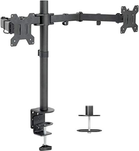 VIVO Dual LCD LED Monitor Desk Mount Stand with C-clamp and Bolt-Through Grommet Options | Heavy Duty Fully Adjustable Arms Hold Two (2) Screens up to 27' (STAND-V002)