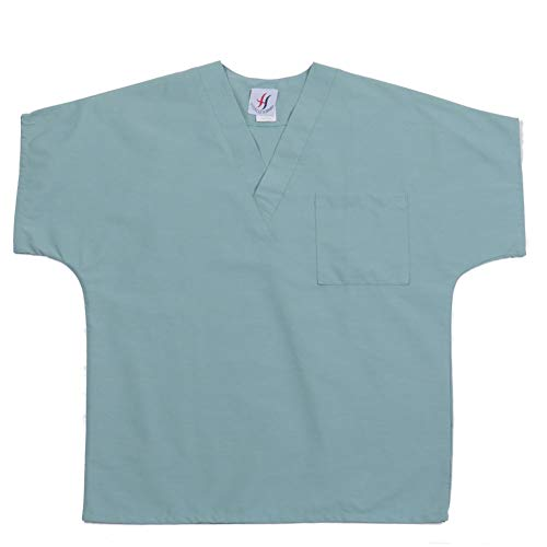 MEDICLE SCRUBS Scrub Tops for Women Men Unisex V-Neck Medical Nurse Uniforms with One Chest Pocket Dolman Style Sleeve deal 50% off 312grflqk5L