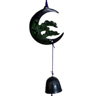 Nambu Tetsuki Cast Iron Green Tanzaku Bell Wind Chimes Crescent Moon