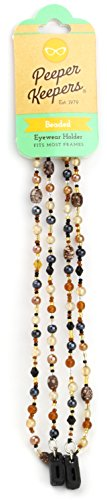 Peeper Keepers Eyeglass Chain, Marble Glass Beads Cord, Sunglasses Holder, Eyeglass Necklace for Women, Brown
