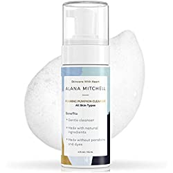 Moisturizing Foaming Pumpkin Cleanser By Alana Mitchell: Gentle Wash With Aloe Vera For All Skin Types - Healthy Skin Anti-Aging Pore Refining Face Purifier - Paraben Free, All Natural (6oz)
