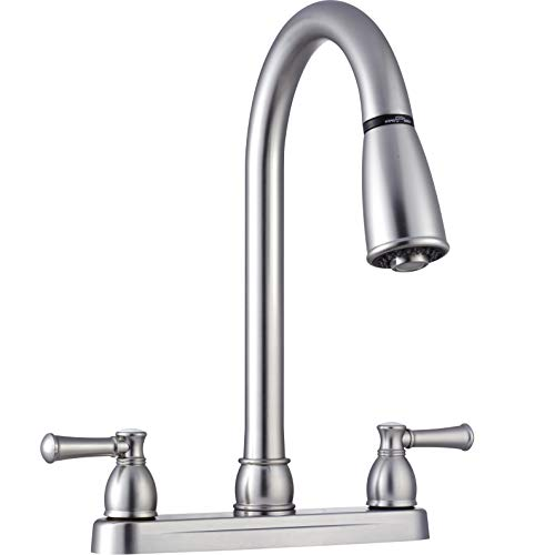 Dura Faucet (DF-PK350L-SN Non-Metallic Dual Lever Pull-Down RV Kitchen Faucet - Replacement Faucet for Motorhomes, 5th Wheel, Trailer, Camper (Brushed Satin Nickel)