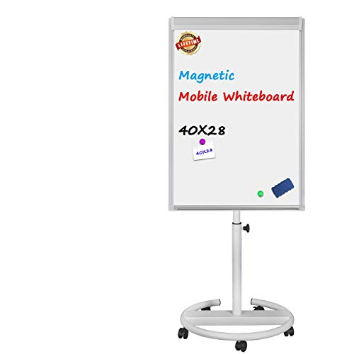 Magnetic Mobile Whiteboard - 40x28 inches Mobile Dry Erase Board Height Adjustable Rolling Whiteboard Dry Erase Easel Board