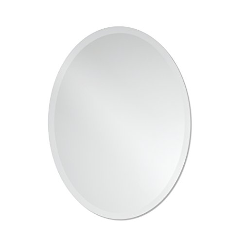 Small Frameless Beveled Oval Wall Mirror...