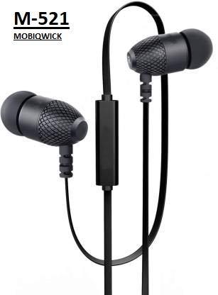 MobiQwick M-521 Earphone Basic with Ultra deep bass and mic (Black)