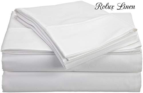 Rolux linen Queen Sleeper Sofa Bed Sheet Set - White Solid 100% Cotton 800 Thread Count Fit Up to 6