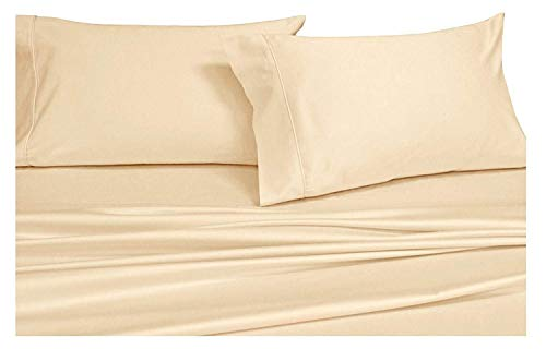 Royal Hotel's Solid Ivory 550-Thread-Count 4pc California-King Bed Sheet Set 100-Percent Combed Cotton, Sateen Solid, Deep Pocket