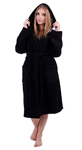 Turkuoise Women's Turkish Cotton Hooded Robe, Terry Hooded Bathrobe (Large/One Size, Black)