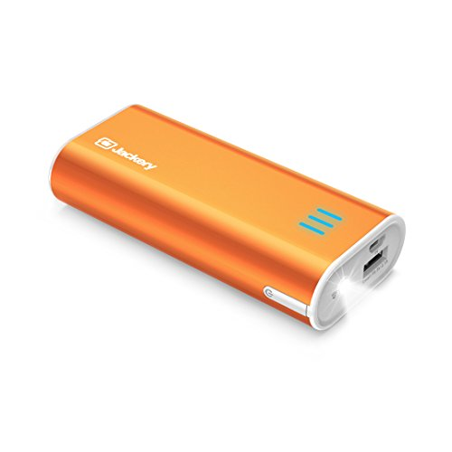 Jackery Portable Travel Charger Bar 6000mAh Pocket-Sized Ultra Compact External Battery Power Bank Fast Charging Speed with Emergency Flashlight for iPhone, Samsung and Others - Orange