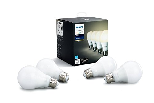 Philips Hue White A19 4-Pack 60W Equivalent Dimmable LED Smart Bulbs (4 White Bulbs, Compatible with Alexa, HomeKit & Google Assistant, Hub Required)