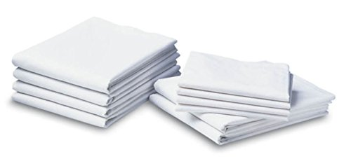 Jmr White Standard Size Pillow Case/Cover 6pk, Muslin T130 Economy (WHITE)