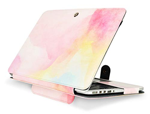 KECC Laptop Case for Old MacBook Pro 13' Retina (-2015) Leather Cover with Protective Stand A1502/A1425 (Rainbow Mist)