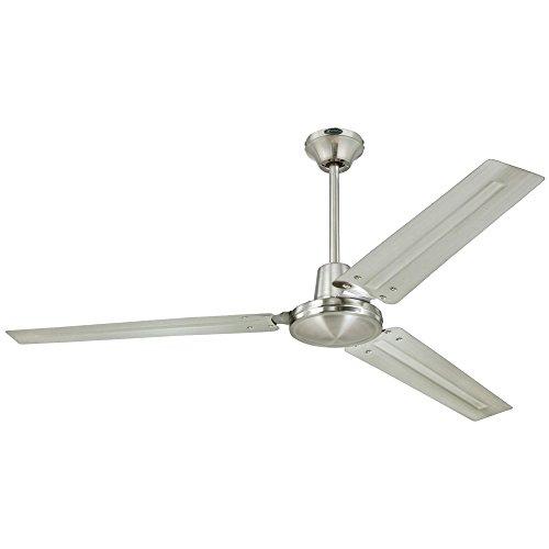 Westinghouse 7861400 Industrial 56-Inch Three-Blade Indoor Ceiling Fan, Brushed Nickel with Brushed Nickel Steel Blades