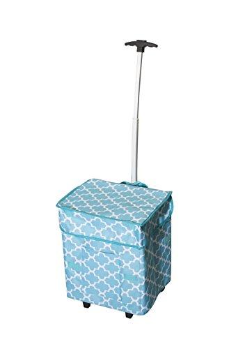 Smart Cart, Moroccan Tile Rolling Multipurpose Collapsible Basket Cart Scrapbooking