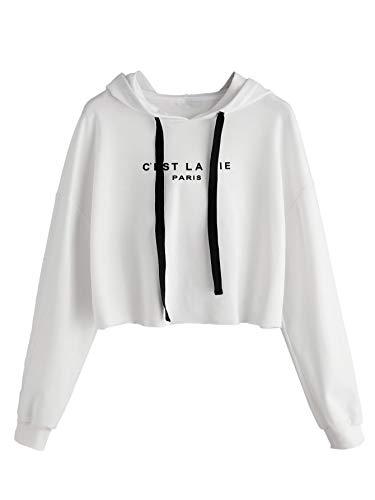 ROMWE Women's Letter Print Sweatshirt Raw Hem Drawstring Crop Top Hoodie