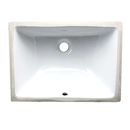 Nantucket Sinks UM-16x11-W 16-Inch by 11-Inch Rectangle Ceramic Undermount Vanity, White