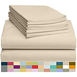"""LuxClub 6 PC Sheet Set Bamboo Sheets Deep Pockets 18"""" Eco Friendly Wrinkle Free Sheets Hypoallergenic Anti-Bacteria Machine Washable Hotel Bedding Silky Soft - Cream Queen"""