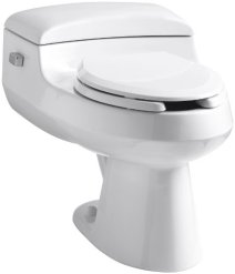 Kohler K-3597-NF-0 San Raphael Comfort Height Pressure Lite 1.0 gpf Elongated Toilet, White