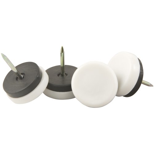 """Nail On 1-1/8"""" Furniture Glides for Straight Wooden Furniture Legs (4 piece) - White, Round"""