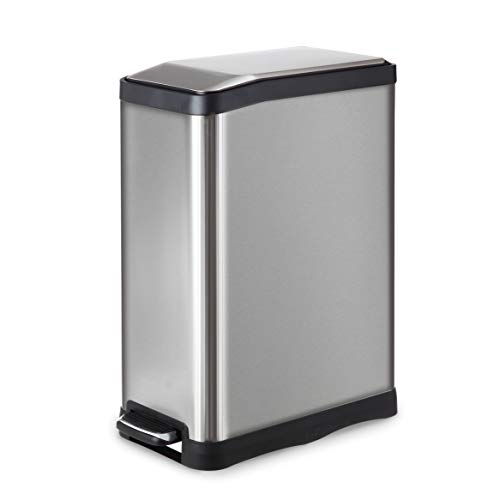 Home Zone Stainless Steel Kitchen Trash Can with Rectangular Design and Step Pedal | 45 Liter / 12 Gallon Storage with Removable Plastic Trash Bin Liner, Silver