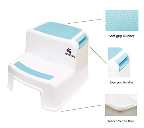 Step Stool for Kids by Emoosie (2 Pack) - Toddler seat for Toilet/Potty & Sink Training - Portable Lightweight Set for Bathroom Kitchen & Bedroom use - Set of Two stools for Boys & Girls