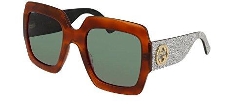 316cDbMZjSL Blonde Havana Frame, Glitter Silver Temples Green Lens Model: GG0102S 004