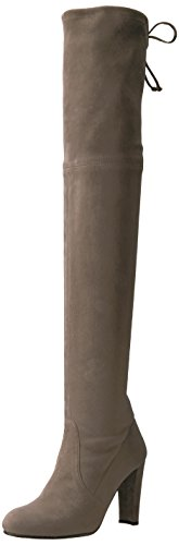 316ya2laiOL Over-the-knee tall boot featuring covered heel and delicate bow closure at back opening Plonge stretch is a genuine leather spliced and backed with Lycra to create the fit factor of a legging. SW signature tie back detail adjusts for a comfortable fit around the thigh.