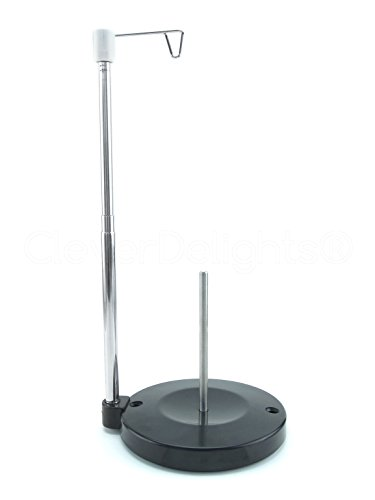 Universal Single Cone and Spool Adjustable Thread Stand for Sewing and Embroidery Machines - Upgraded Design - Supports King and Mini-King Cones