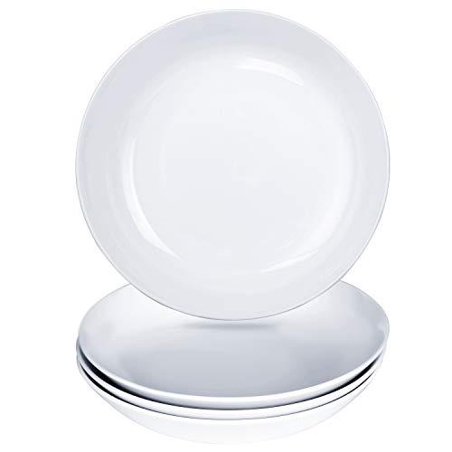 Alt-Gt Porcelain Dinner Plates Wide Shallow Bowls for Pasta/Salad/Dessert,24Ounce,Round&Elegant White Serving Platters Dinnerware Dishwasher Microwave Freezer Safe for Everyday Use,Set of 4 (8 inch)