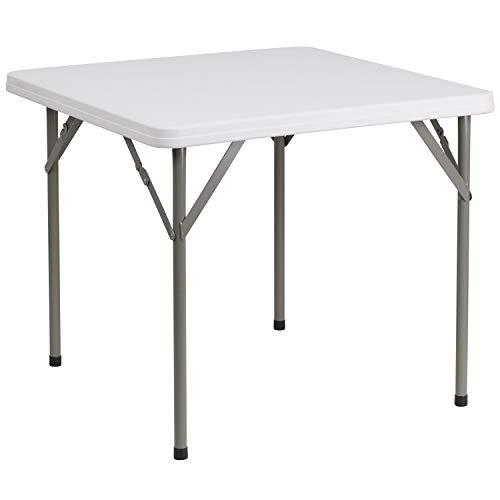 Flash Furniture 34'' Square Granite White Plastic Folding Table [DAD-YCZ-86-GG]