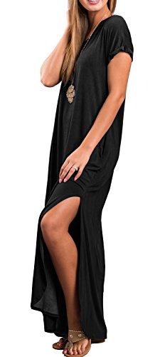 Casual Loose Pocket Long Dress Short Sleeve Split Maxi Dresses
