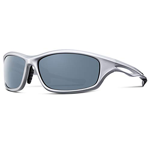 Alpment HD Polarized Sports Sunglasses for Men Women Driving Glasses Cycling Fishing Golf Skiing TR90 Unbreakable Frame with Adjustable Temple, Rectangular Grey Lens