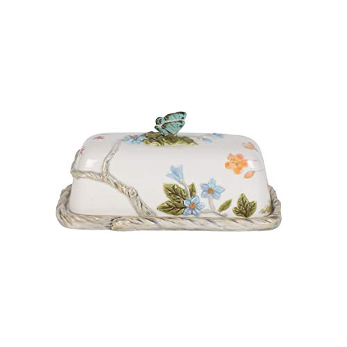 Fitz and Floyd 5237199 Butterfly Fields Covered Butter Dish, 7.75 inches, Assorted