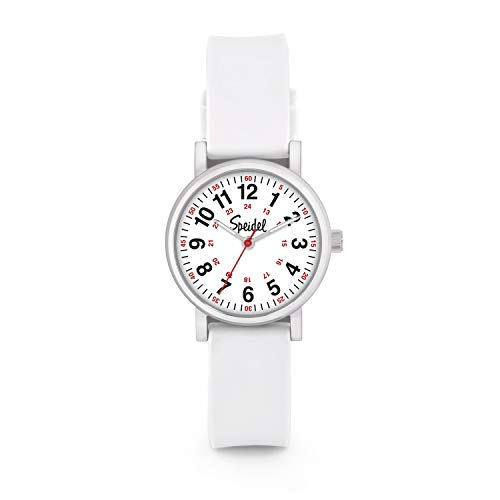 Speidel Women's White Scrub Petite Watch for Medical Professionals - Easy to Read Small Face, Luminous Hands, Silicone Band, Second Hand, Military Time for Nurses, Students in Scrub Matching Colors