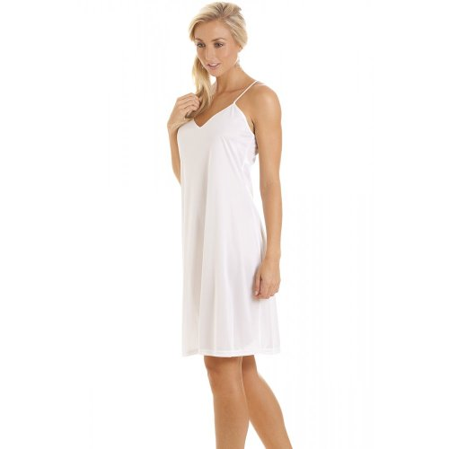 camille womens ladies nightwear chemise full slip With fond de robe coton