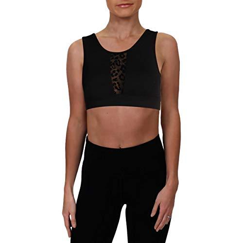 Jessica Simpson The Warm Up Womens Fitness Mesh Sports Bra Black L