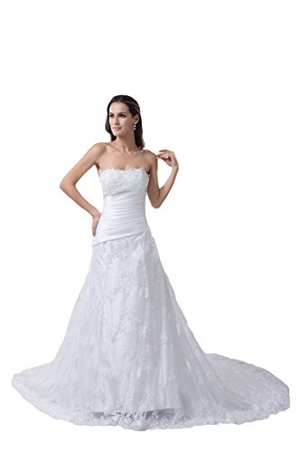 61uo0CGupjL ●Strapless Lace wedding dresses ●Back with lace up.Bullt-in bra ●Customized sizes and colors are also available
