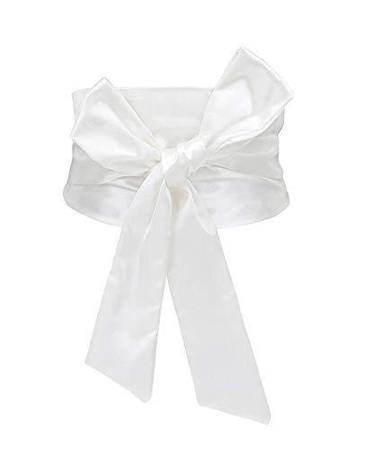 Idopy Women's Bow Tie Knot Wide Band Cinch Corset Waist Belt Cinch White