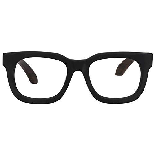 Zeelool Retro Thick Rectangle Wood Arm Eyeglasses Frame for Men Non-prescription Clear Lens Sam FP0432-01 Black