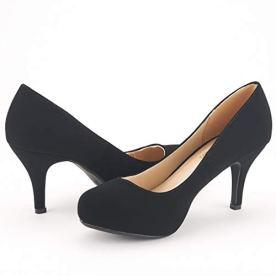 Women's New Classic Elegant Versatile Low Stiletto Heel Dress Platform Pumps Shoes
