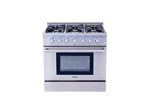 Thor Kitchen HRG3618U 36' Freestanding Professional Style Gas Range with 5.2 Cu. Ft. Oven, 6 Burners, Convection Fan, Cast Iron Grates, Blue Porcelain Oven Interior, In Stainless Steel