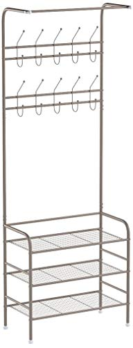 Homfa Metal Entryway Coat Shoe Rack 3-Tier Shoe Bench with Coat Hat Umbrella Rack 20 Hooks (Champagne)