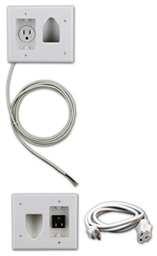Datacomm Electronics 50-3323-WH-KIT Flat Panel TV Cable Organizer Kit with Power Solution - White