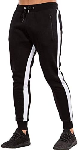 Ouber Men's Gym Jogger Pants Slim Fit Workout Running Sweatpants with Zipper Pockets