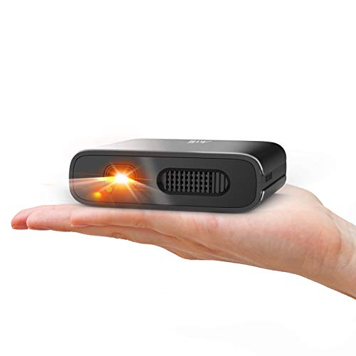 Mini Projector - Artlii Portable DLP Projector with 5200mAh Built-in Battery for Travel and Outdoor, Support 1080P 3D and Auto Keystone Correction, Pico Projector Compatible with iPhone and Smartphone