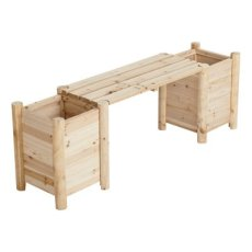 Cedar/Fir Bench with Side Planters - Natural Cedar/Fir (Cunninghamia lanceolata), Model# CSN-CPB-07
